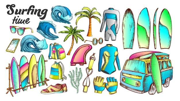 Surfing time collection elements color set Premium Vector