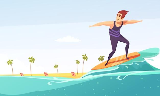 Surfing tropical beach cartoon Free Vector