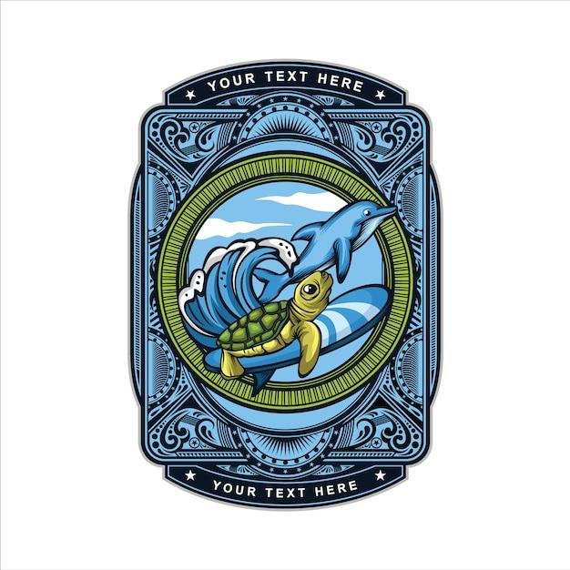 サーフィンカメのロゴ Premiumベクター