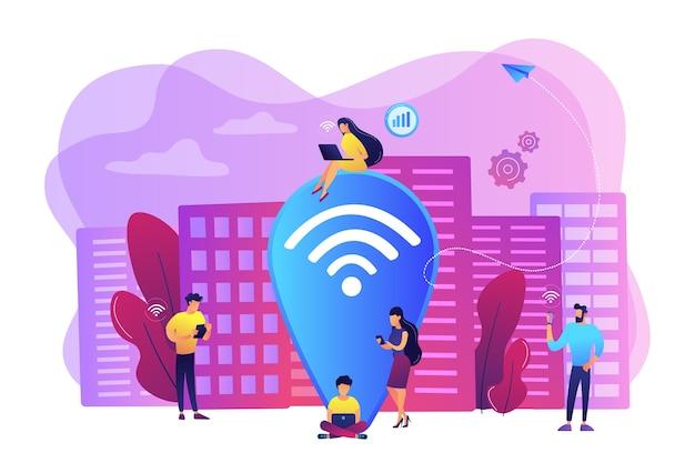 Просмотр веб-сайтов, просмотр веб-сайтов. бесплатный интернет, сеть. общественная точка доступа wi-fi, бесплатный беспроводной доступ в интернет, концепция бесплатного wi-fi. яркие яркие фиолетовые изолированные иллюстрации Бесплатные векторы