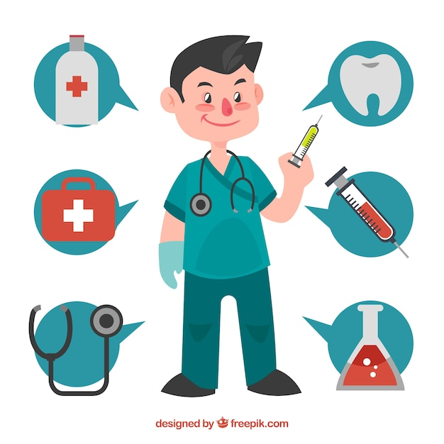 Surgeon with talking bubbles and medical elements Free Vector