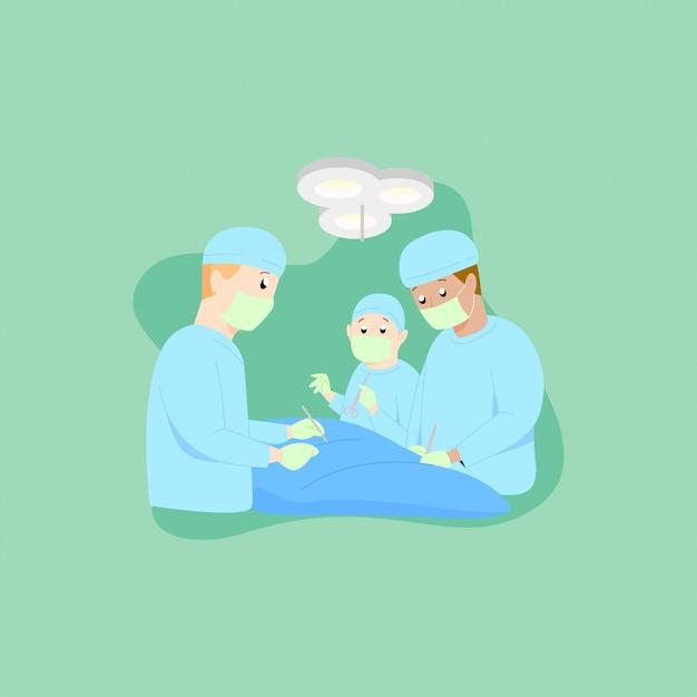 Surgeons conducting operation to a patent illustration Premium Vector