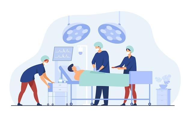 Команда хирургов окружает пациента на операционном столе плоской векторной иллюстрации. мультфильм медицинских работников готовится к операции. концепция медицины и технологии Бесплатные векторы