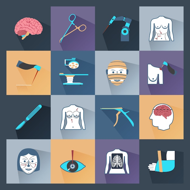 Surgery icons flat Free Vector