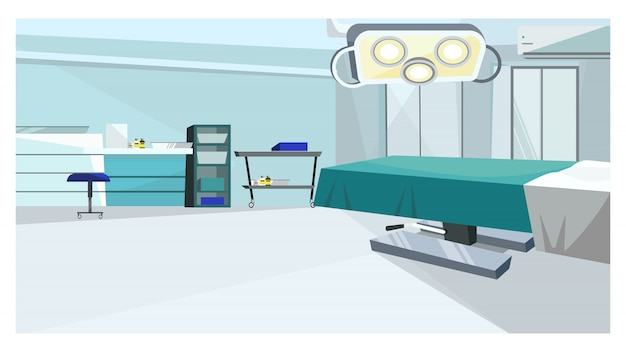 Surgery room with operating table with illustration Free Vector