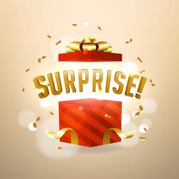 Surprise inside open red gift box Premium Vector