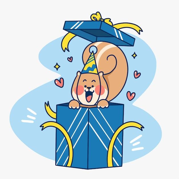 서프라이즈 다람쥐 선물 상자 낙서 그림 프리미엄 벡터
