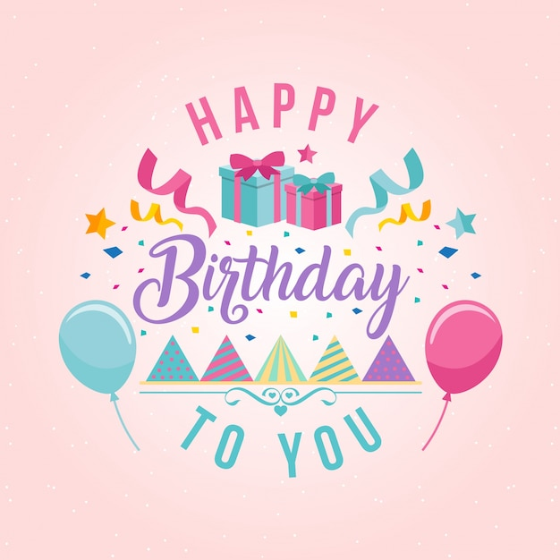 surprise theme happy birthday card illustration vector free download