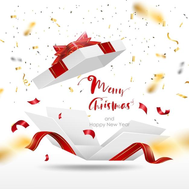 Сюрприз белая подарочная коробка с красной лентой. открытая подарочная коробка изолирована. веселого рождества и счастливого нового года. Premium векторы