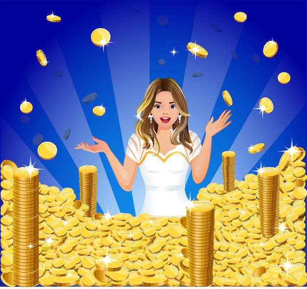 Surprised girl with gold coins jackpot Premium Vector