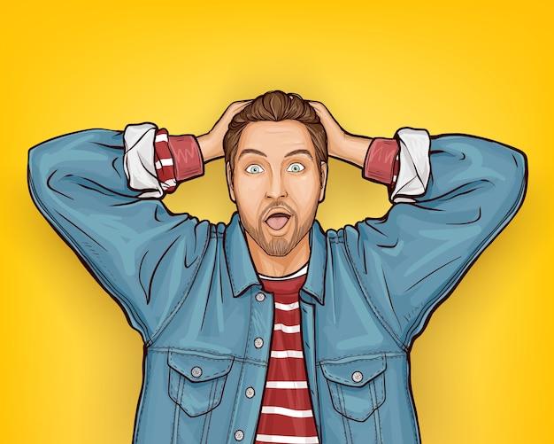 Uomo sorpreso hipster in stile pop art Vettore gratuito