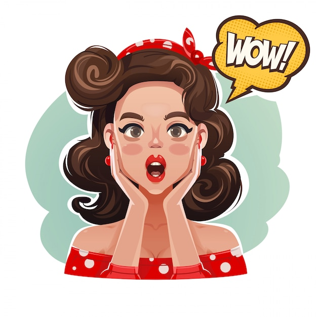 Surprised pin up woman saying wow! Premium Vector