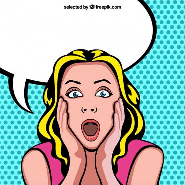 Surprised woman cartoon with blank speech bubble Free Vector