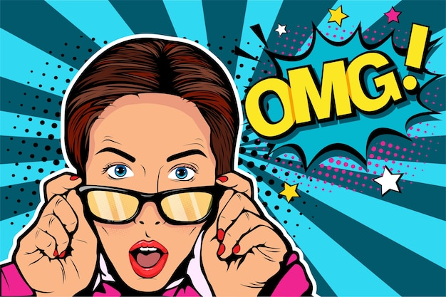 Surprised woman with open mouth and wow Premium Vector