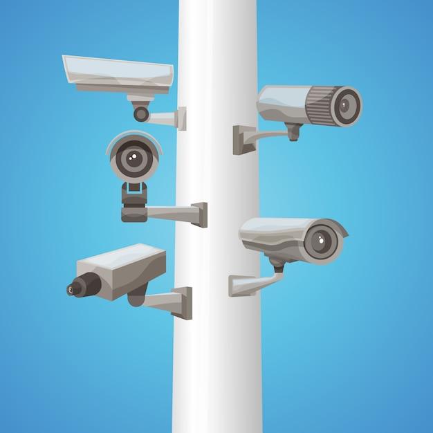 Surveillance camera on pillar Free Vector