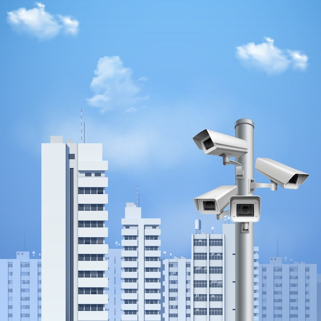 Surveillance camera realistic background Free Vector