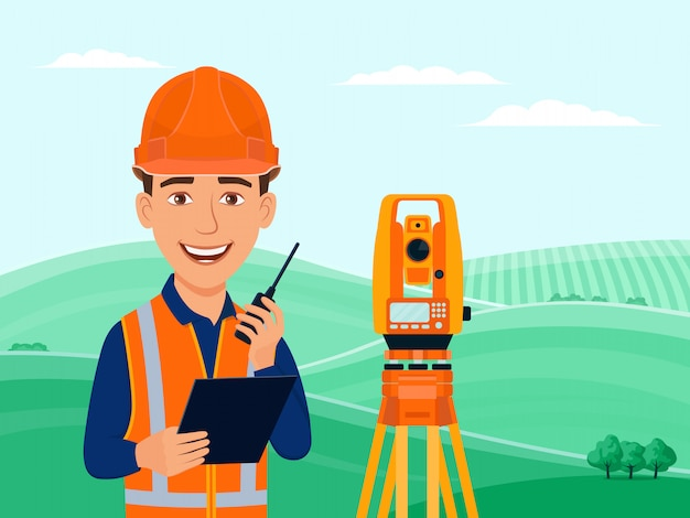 Surveyor, cadastral engineer, cartographer, cartoon smile character, theodolite, total station, surveying equipment. Premium Vector