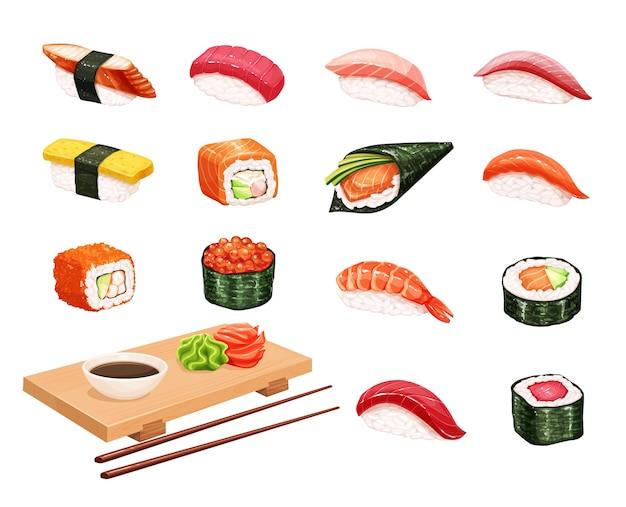 寿司とロール。シーフードショップの日本食イラスト Premiumベクター