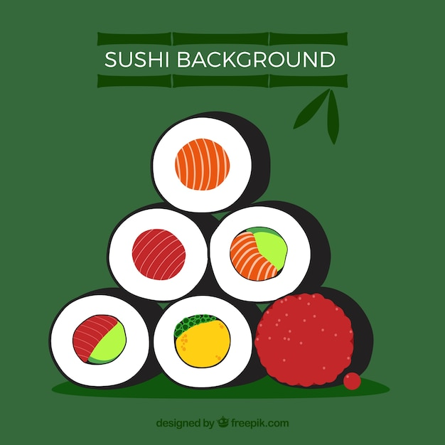 Sushi background with flat design Free Vector
