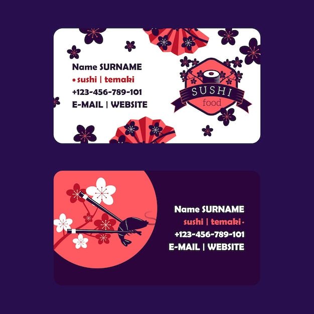 Sushi bar business card design,  illustration. asian food delivery company, traditional japanese restaurant. business card template, sushi icon Premium Vector