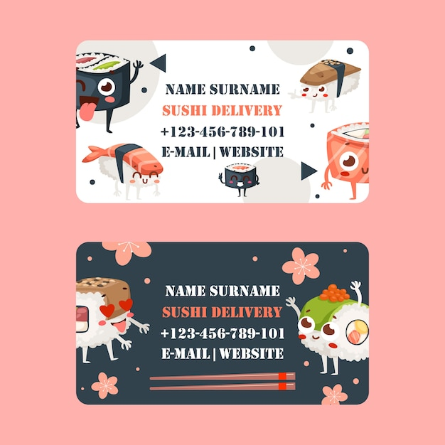 Sushi bar business card design,  illustration. asian food delivery company, traditional japanese restaurant. Premium Vector