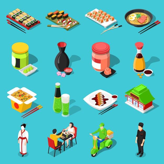Sushi bar isometric icons Free Vector