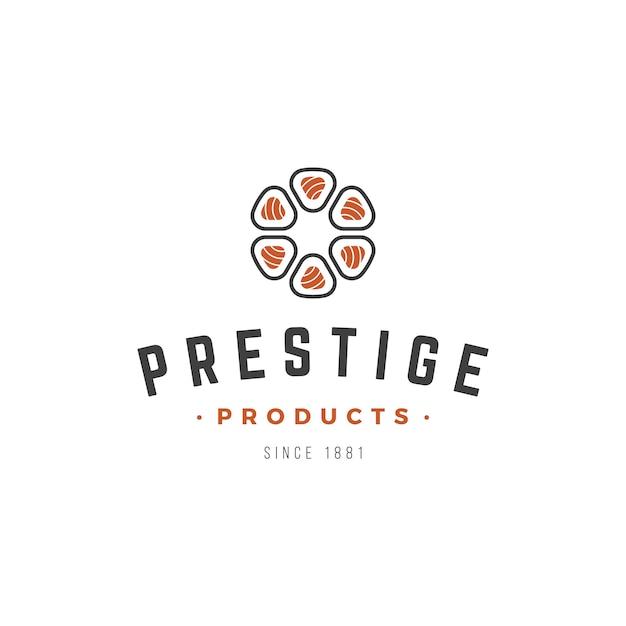 Sushi bar japanese food logo design Premium Vector