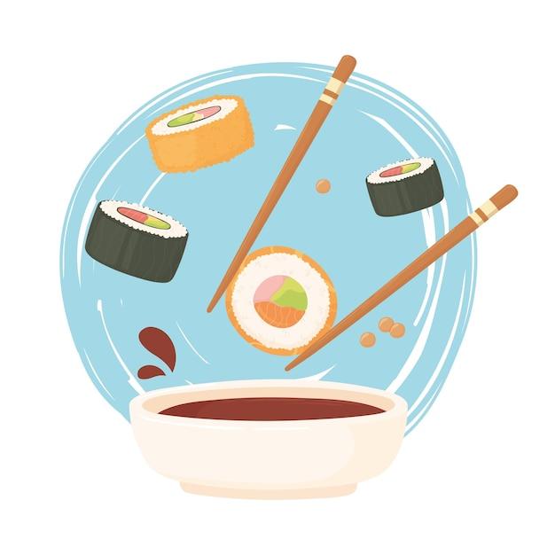 醤油巻き寿司とにぎり、刺身料理イラスト Premiumベクター