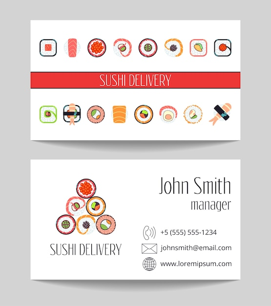 Sushi delivery business card both sides vector template Premium Vector