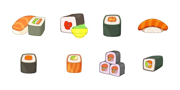 Sushi element set. cartoon set of sushi vector elements Premium Vector