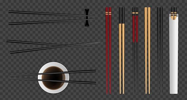 Sushi food chopsticks, soy sauce asian bamboo. Premium Vector