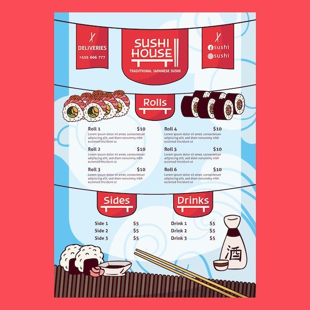 Шаблон печати меню ресторана суши-хаус Premium векторы