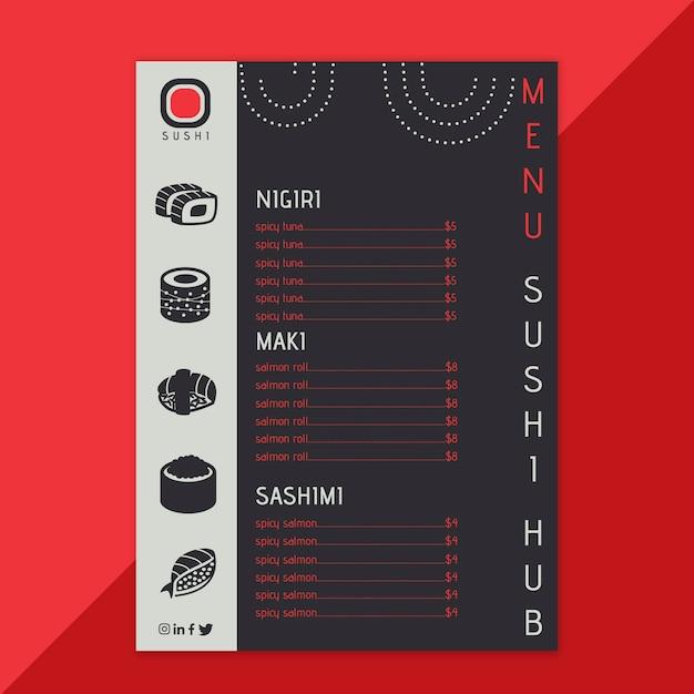 Шаблон меню ресторана sushi hub Бесплатные векторы
