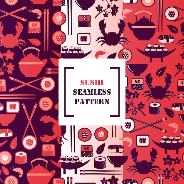 Sushi icons in seamless pattern,  illustration. symbols of traditional asian cuisine, seafood and tea Premium Vector