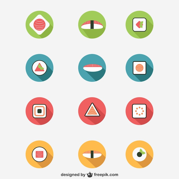 Sushi icons Free Vector