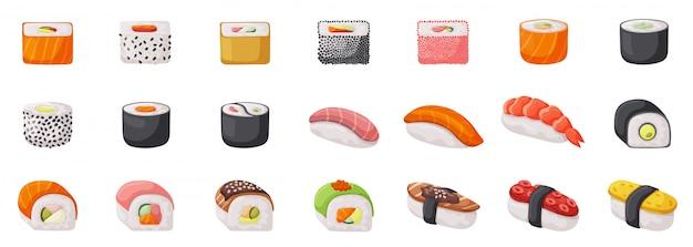 寿司分離設定アイコン。白い背景の上の図日本食。漫画セットアイコンロール。 Premiumベクター