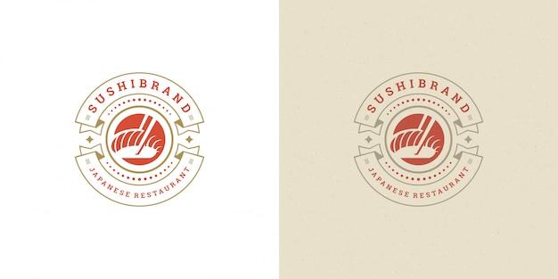 Sushi logo and badge japanese food restaurant with salmon sashimi asian kitchen  vector illustration Premium Vector