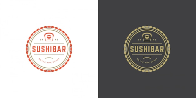 Sushi logo and badge japanese food restaurant with sushi salmon roll asian kitchen silhouette vector Premium Vector