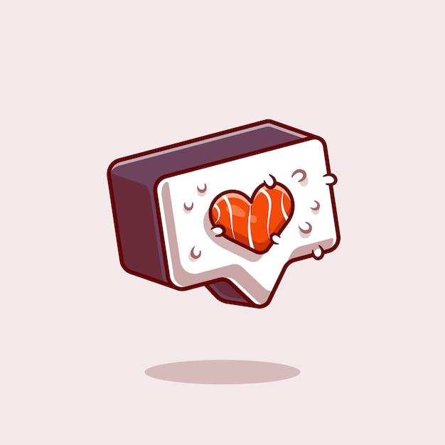 Sushi love symbol cartoon icon illustration. Free Vector