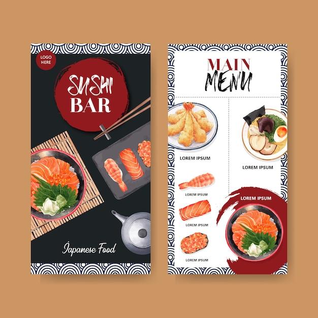 レストランの寿司メニューのコレクション。食品の水彩イラストのテンプレート。 無料ベクター
