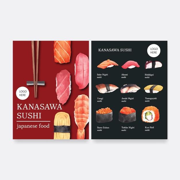 レストランの寿司メニューのコレクション。 無料ベクター