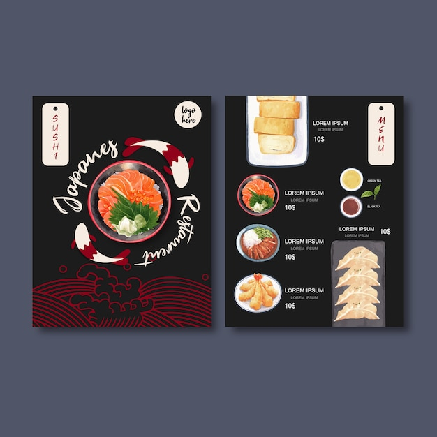 Sushi menu collection for restaurant. template with food watercolor illustrations. Free Vector