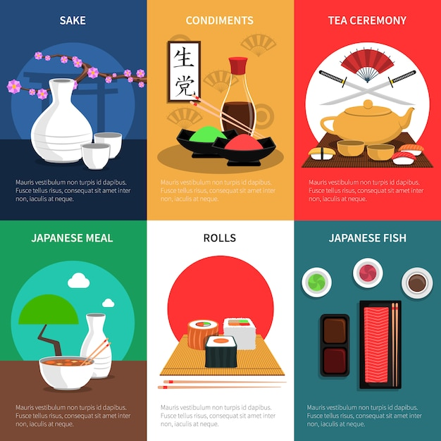 Sushi mini poster set Free Vector