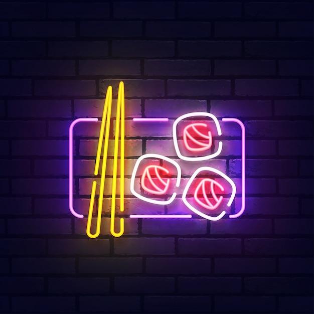 Суши неоновая вывеска. светящийся неоновый свет вывески суши-бара. знак японской кухни с красочными неоновыми огнями, изолированными на кирпичной стене. Premium векторы