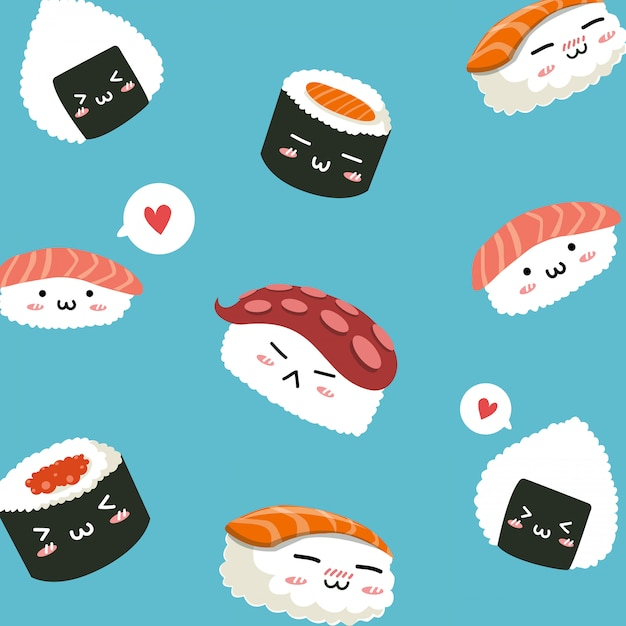 Sushi pattern japanese food cute character, Premium Vector
