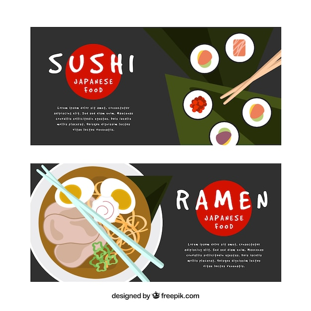 Sushi and ramen banners Free Vector