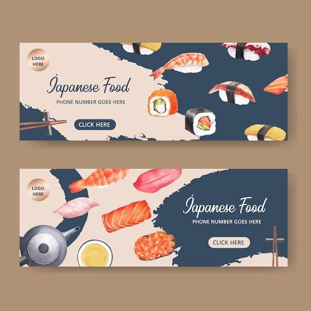 Sushi restaurant banner Free Vector