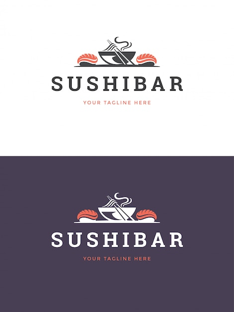 Sushi restaurant emblem logo template vector illustration. Premium Vector