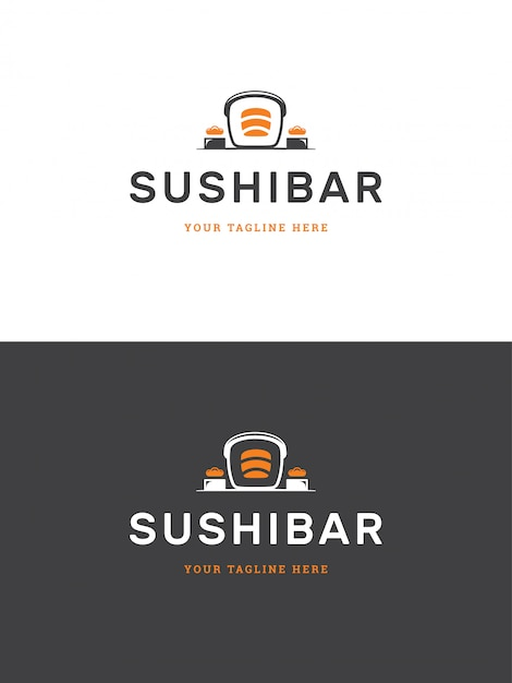 Sushi restaurant emblem logo template vector illustration. Premium Vector