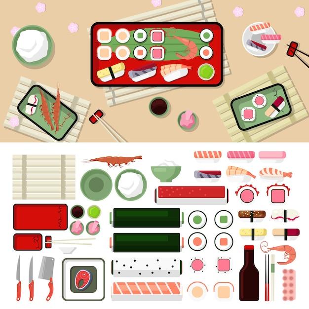 寿司レストランフラットスタイルデザイングラフィック要素セット。刺身、寿司、海老、ロールパン、魚、盛り上がり、箸、お皿、醤油、わさびのアイコンイラスト。 無料ベクター